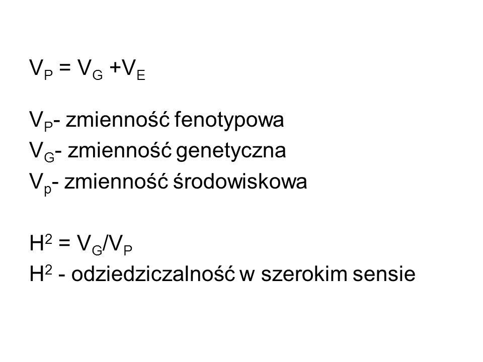 VP = VG +VE VP- zmienność fenotypowa. VG- zmienność genetyczna. Vp- zmienność środowiskowa. H2 = VG/VP.