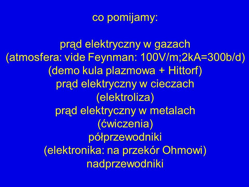 prąd elektryczny w gazach (atmosfera: vide Feynman: 100V/m;2kA=300b/d)