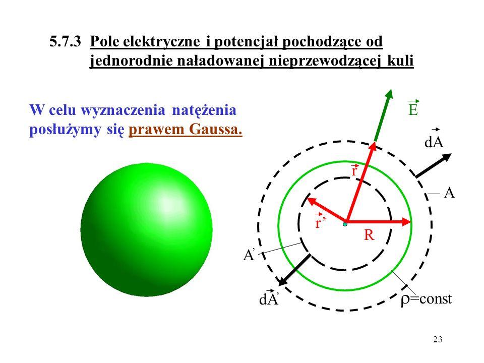 5.7.3 Pole elektryczne i potencjał pochodzące od jednorodnie naładowanej nieprzewodzącej kuli