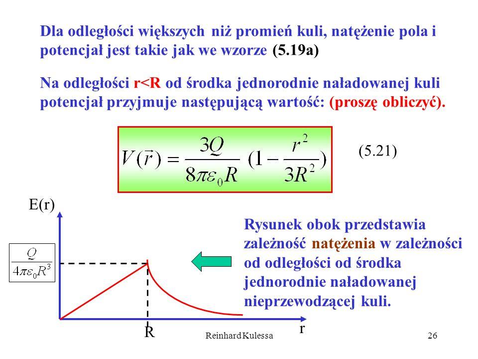 Na odległości r<R od środka jednorodnie naładowanej kuli