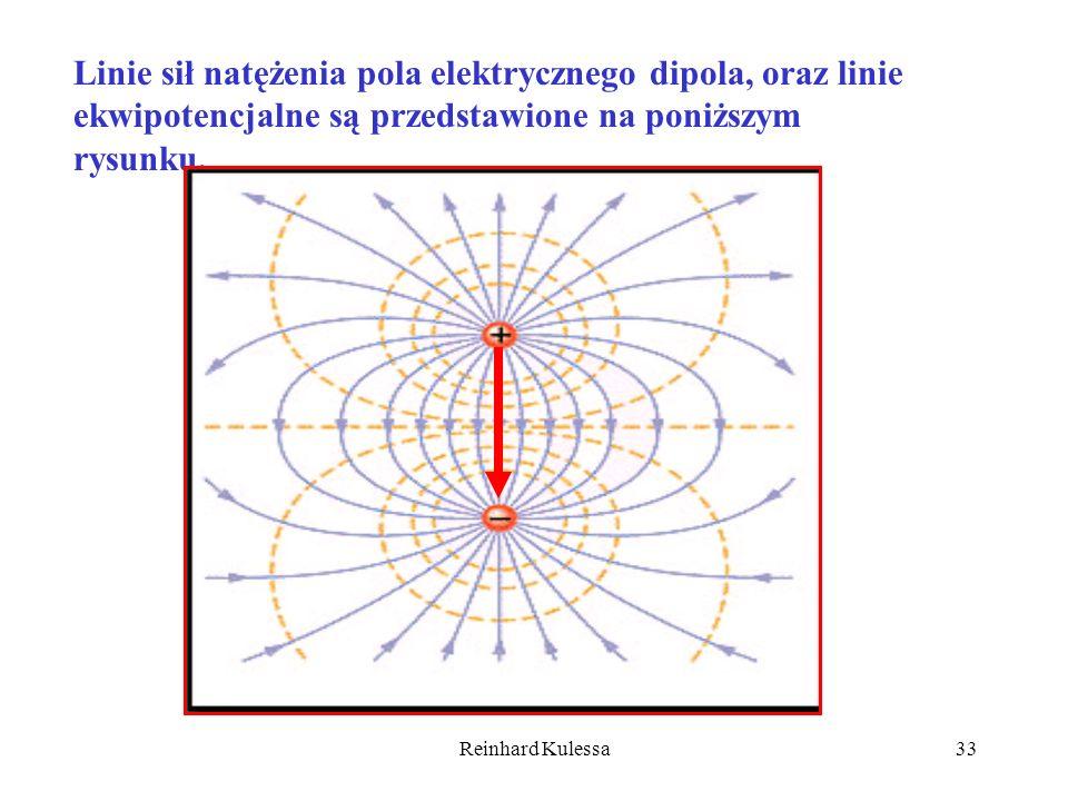 Linie sił natężenia pola elektrycznego dipola, oraz linie ekwipotencjalne są przedstawione na poniższym rysunku.