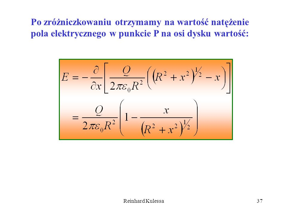 Po zróżniczkowaniu otrzymamy na wartość natężenie pola elektrycznego w punkcie P na osi dysku wartość: