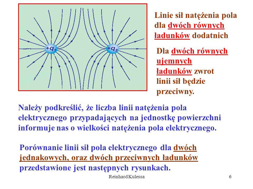 Linie sił natężenia pola dla dwóch równych ładunków dodatnich