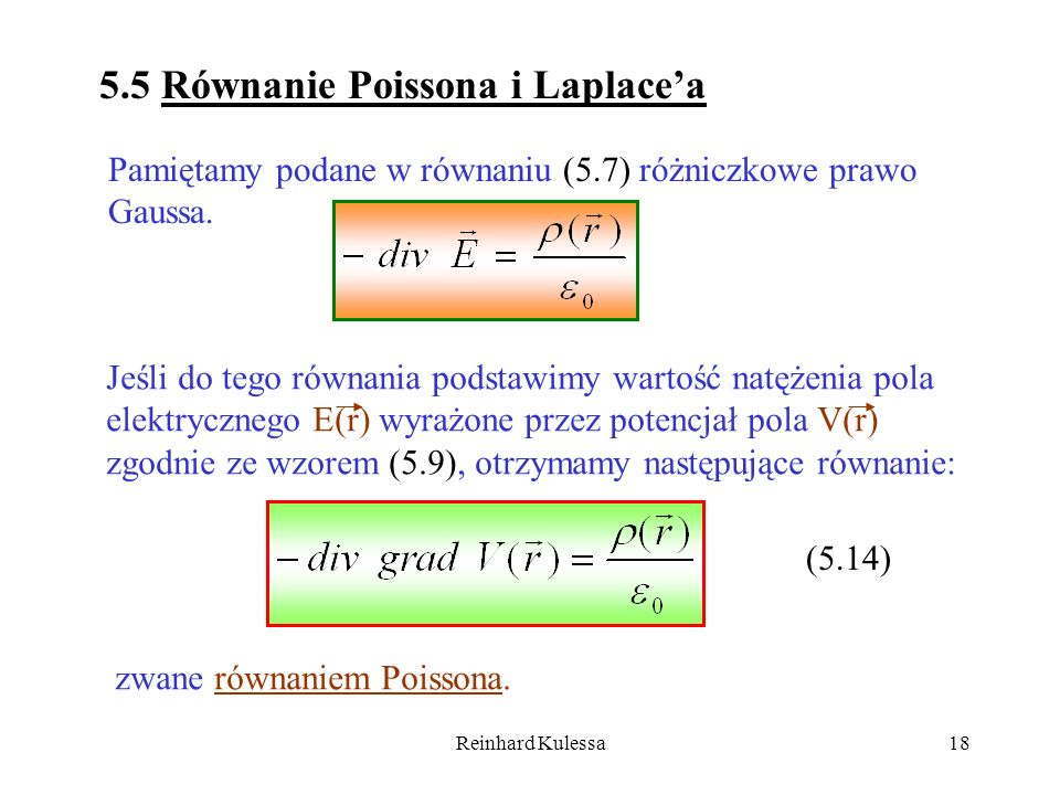 5.5 Równanie Poissona i Laplace'a