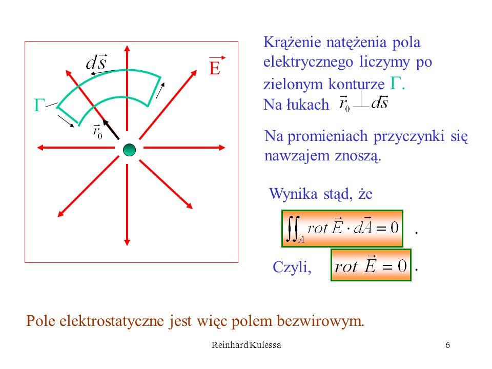 Krążenie natężenia pola elektrycznego liczymy po zielonym konturze .