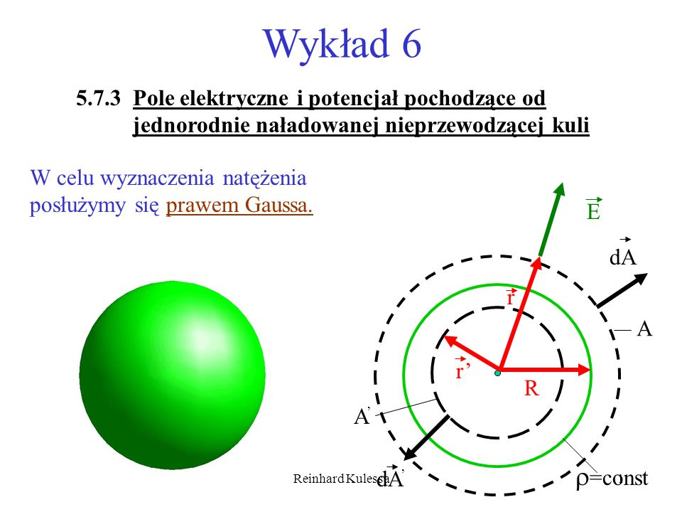 Wykład 65.7.3 Pole elektryczne i potencjał pochodzące od jednorodnie naładowanej nieprzewodzącej kuli.