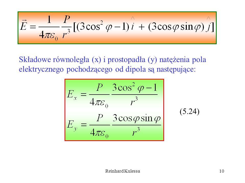 Składowe równoległa (x) i prostopadła (y) natężenia pola elektrycznego pochodzącego od dipola są następujące: