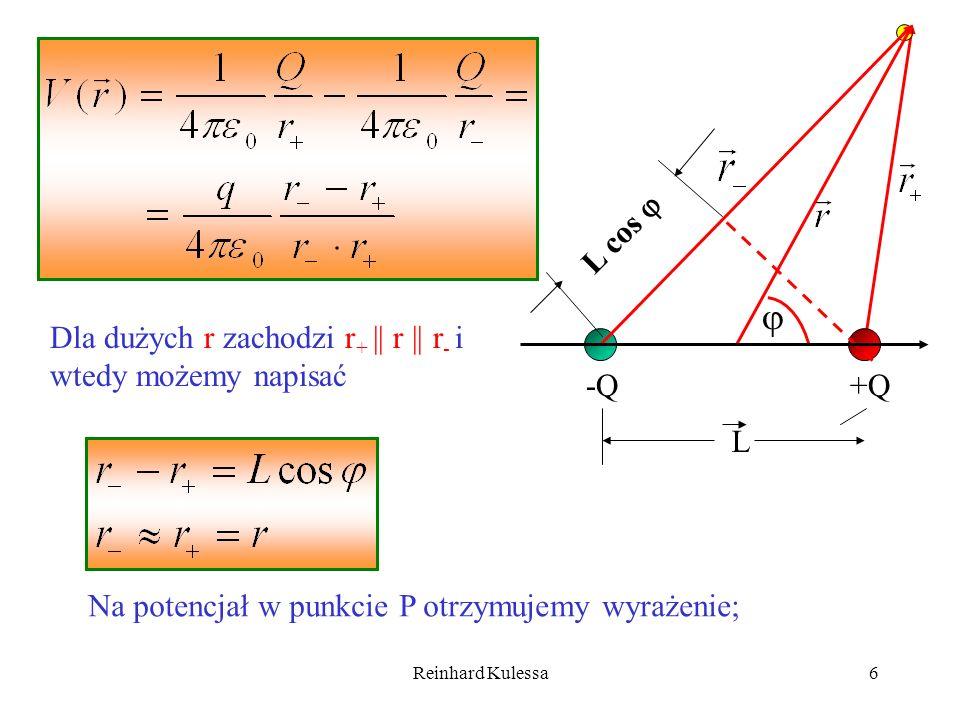  L cos  Dla dużych r zachodzi r+ || r || r- i wtedy możemy napisać