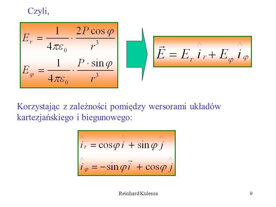 Czyli,Korzystając z zależności pomiędzy wersorami układów kartezjańskiego i biegunowego: Reinhard Kulessa.