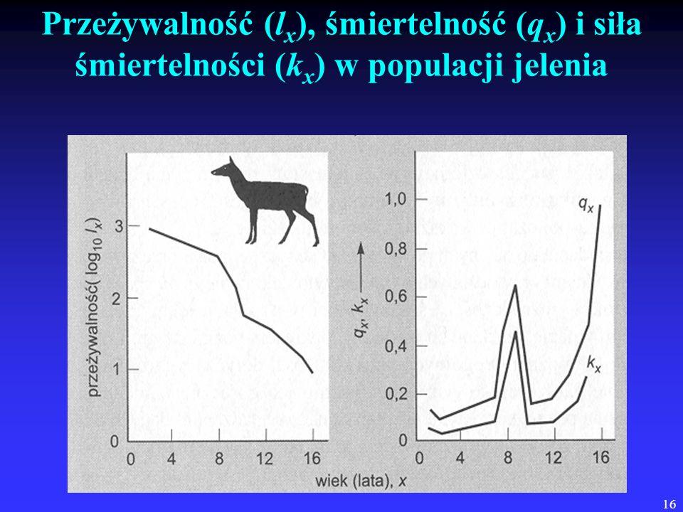 Przeżywalność (lx), śmiertelność (qx) i siła śmiertelności (kx) w populacji jelenia