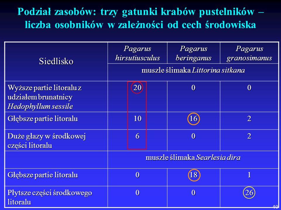 Podział zasobów: trzy gatunki krabów pustelników – liczba osobników w zależności od cech środowiska