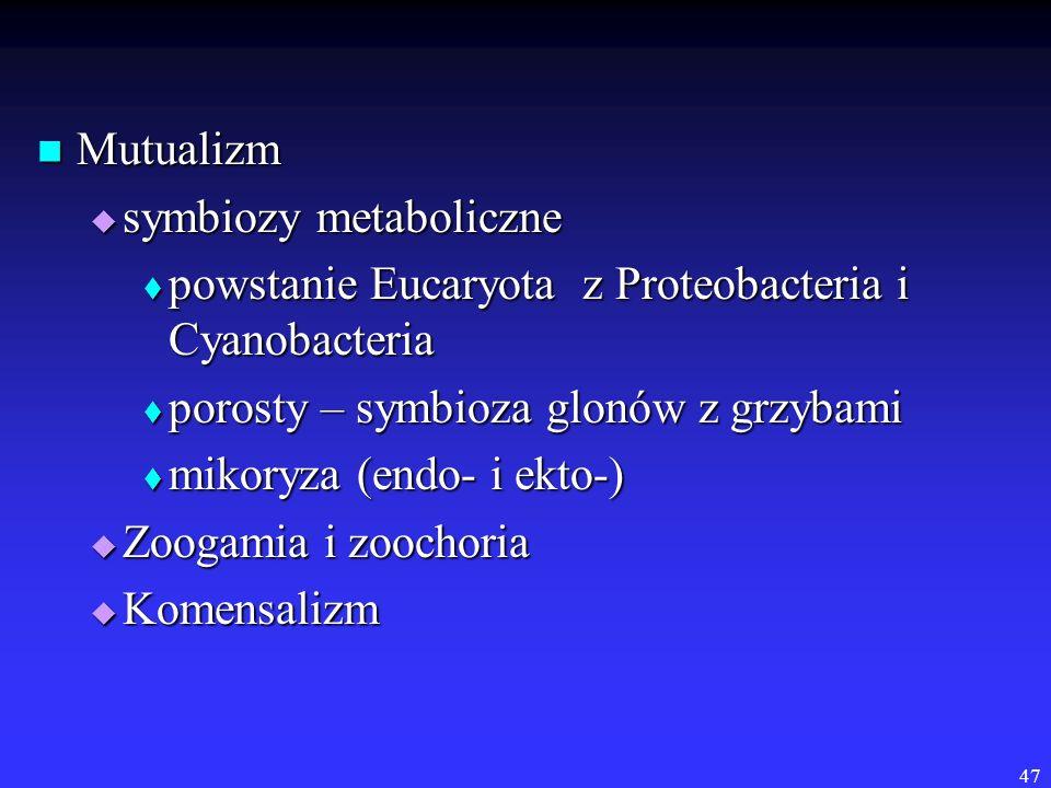 Mutualizm symbiozy metaboliczne. powstanie Eucaryota z Proteobacteria i Cyanobacteria. porosty – symbioza glonów z grzybami.