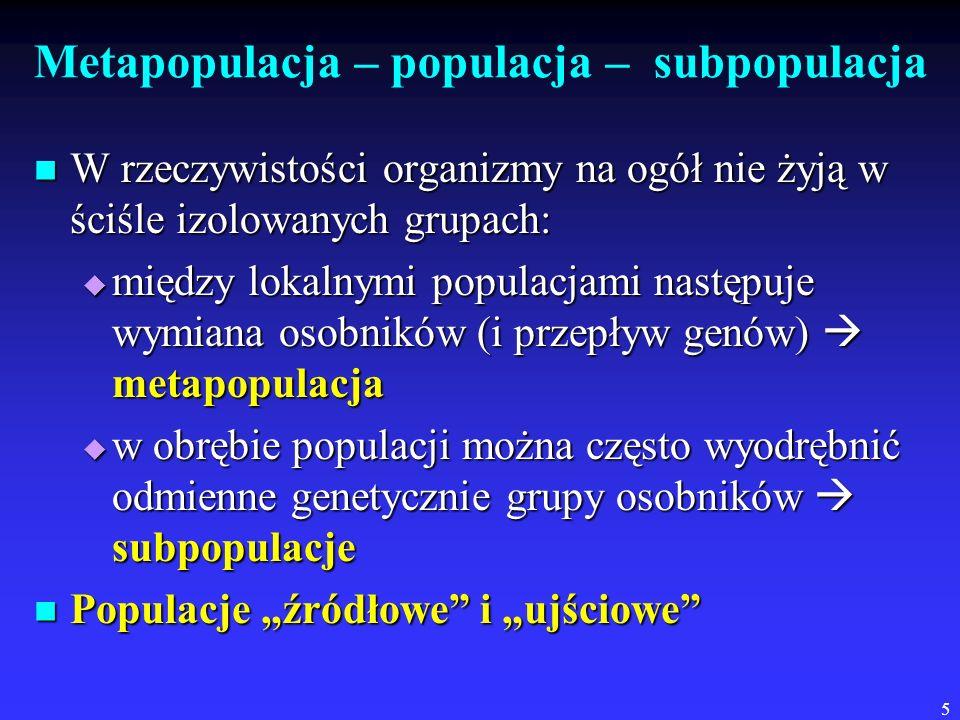 Metapopulacja – populacja – subpopulacja