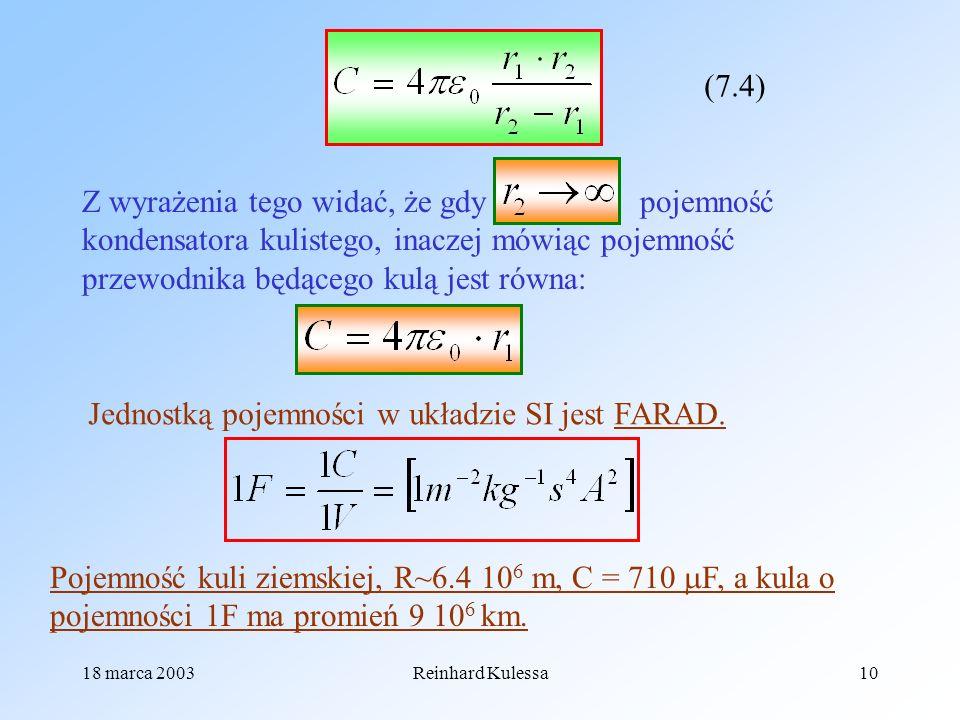 Jednostką pojemności w układzie SI jest FARAD.