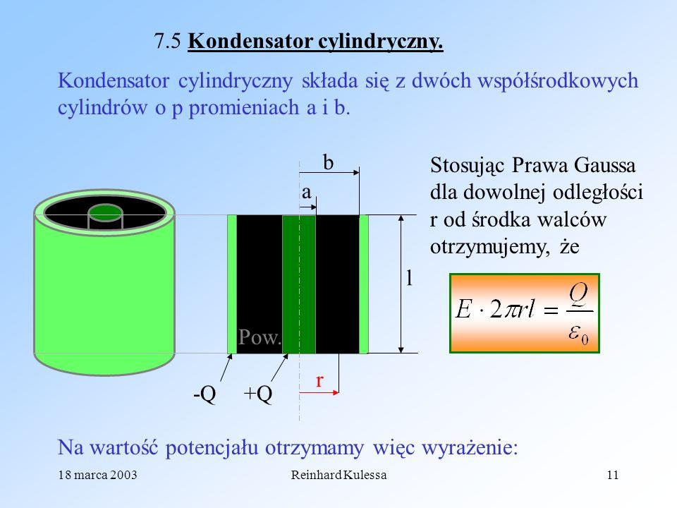 7.5 Kondensator cylindryczny.