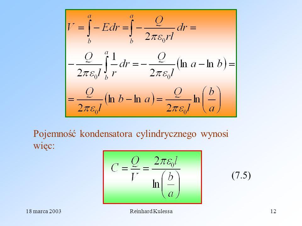 Pojemność kondensatora cylindrycznego wynosi więc: