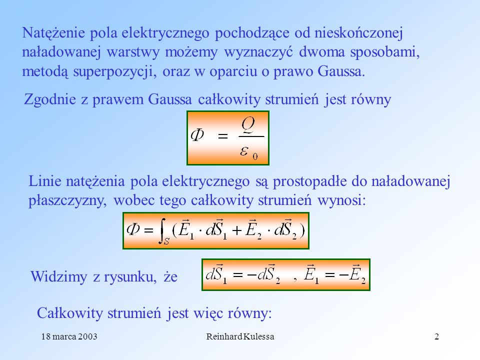 Zgodnie z prawem Gaussa całkowity strumień jest równy