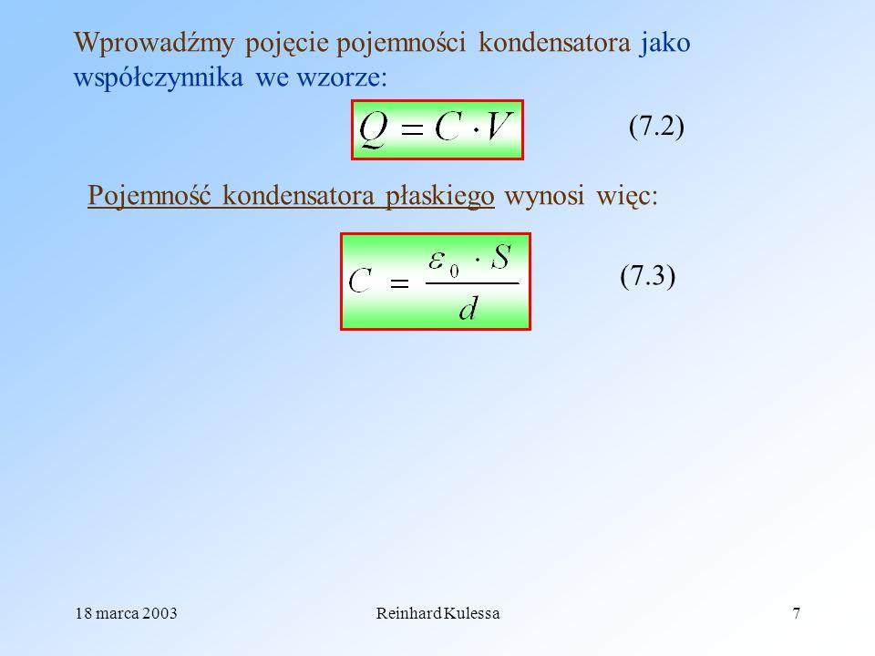 Pojemność kondensatora płaskiego wynosi więc: