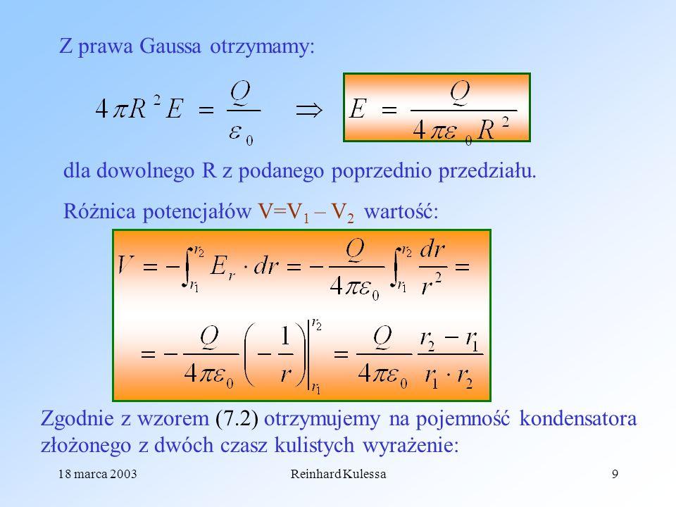 Z prawa Gaussa otrzymamy: