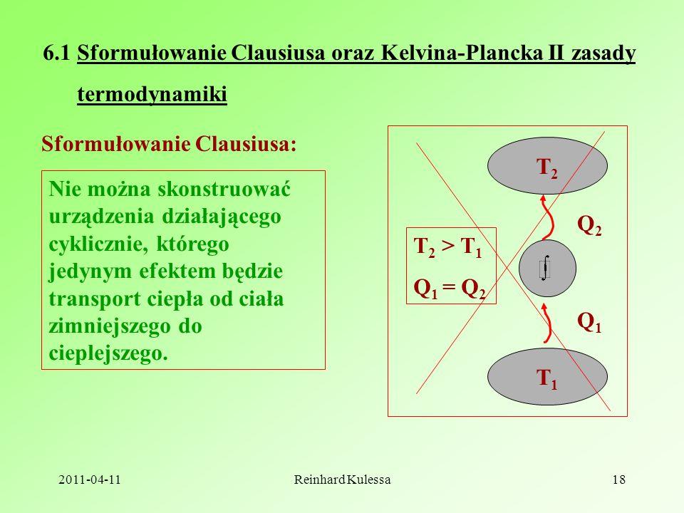 6.1 Sformułowanie Clausiusa oraz Kelvina-Plancka II zasady