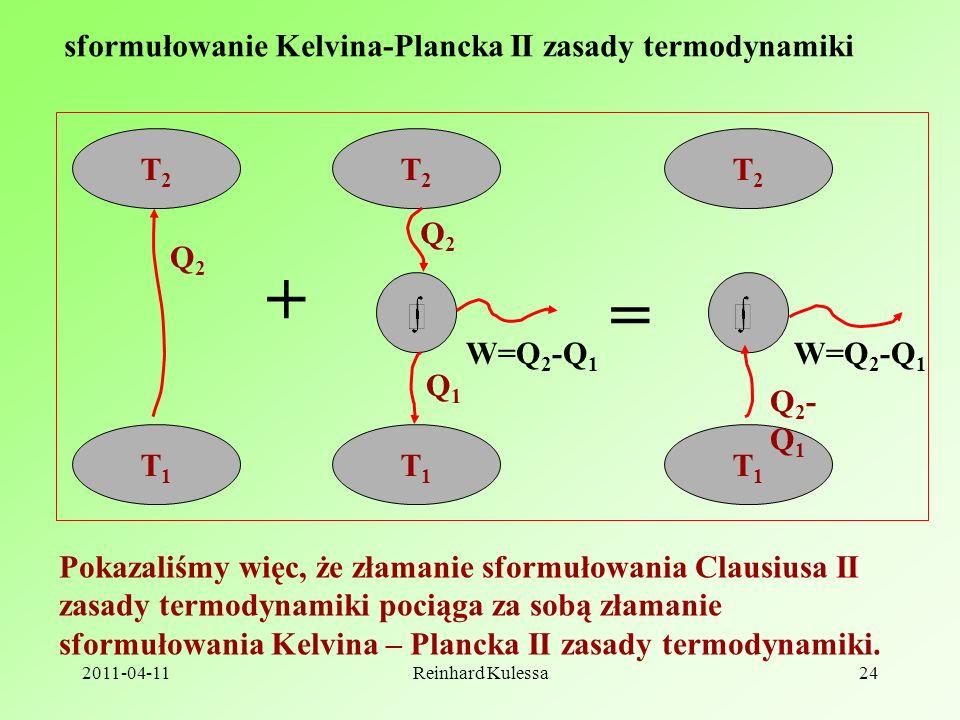 + = sformułowanie Kelvina-Plancka II zasady termodynamiki T2 Q2