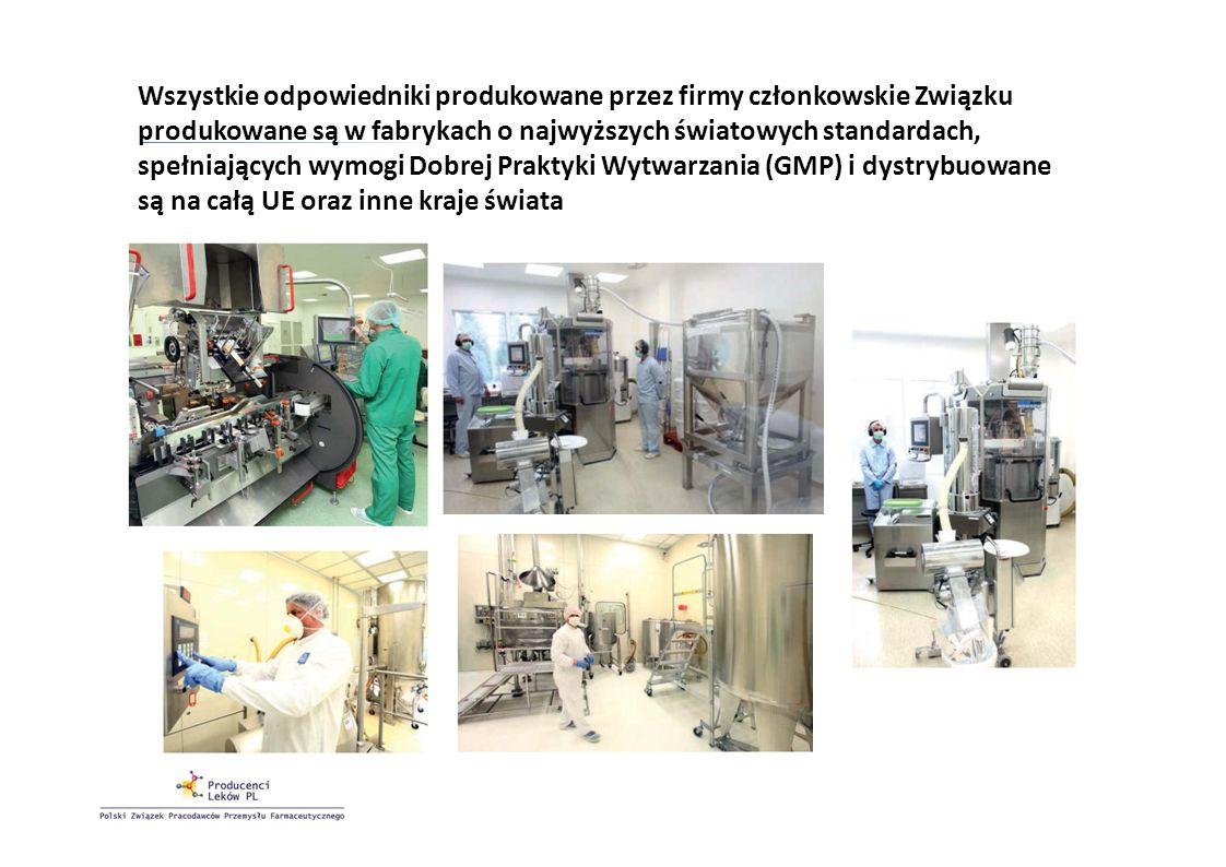 Wszystkie odpowiedniki produkowane przez firmy członkowskie Związku produkowane są w fabrykach o najwyższych światowych standardach, spełniających wymogi Dobrej Praktyki Wytwarzania (GMP) i dystrybuowane są na całą UE oraz inne kraje świata