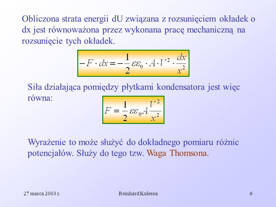 Siła działająca pomiędzy płytkami kondensatora jest więc równa: