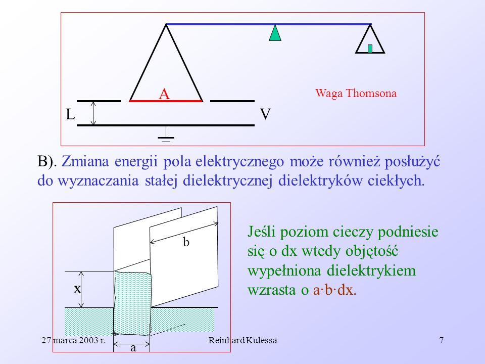 AWaga Thomsona. L. V. B). Zmiana energii pola elektrycznego może również posłużyć do wyznaczania stałej dielektrycznej dielektryków ciekłych.