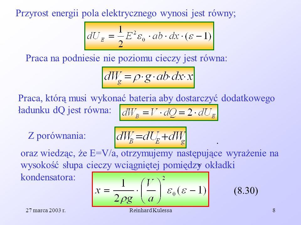 Przyrost energii pola elektrycznego wynosi jest równy;