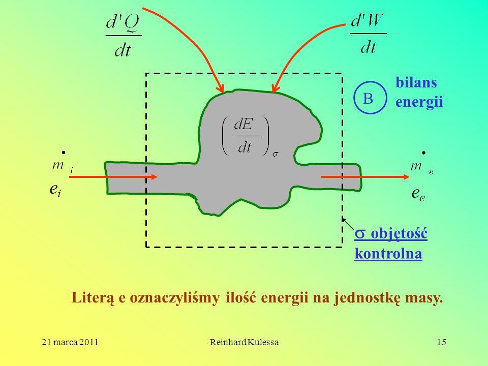 ei ee  objętość kontrolna bilans energii B