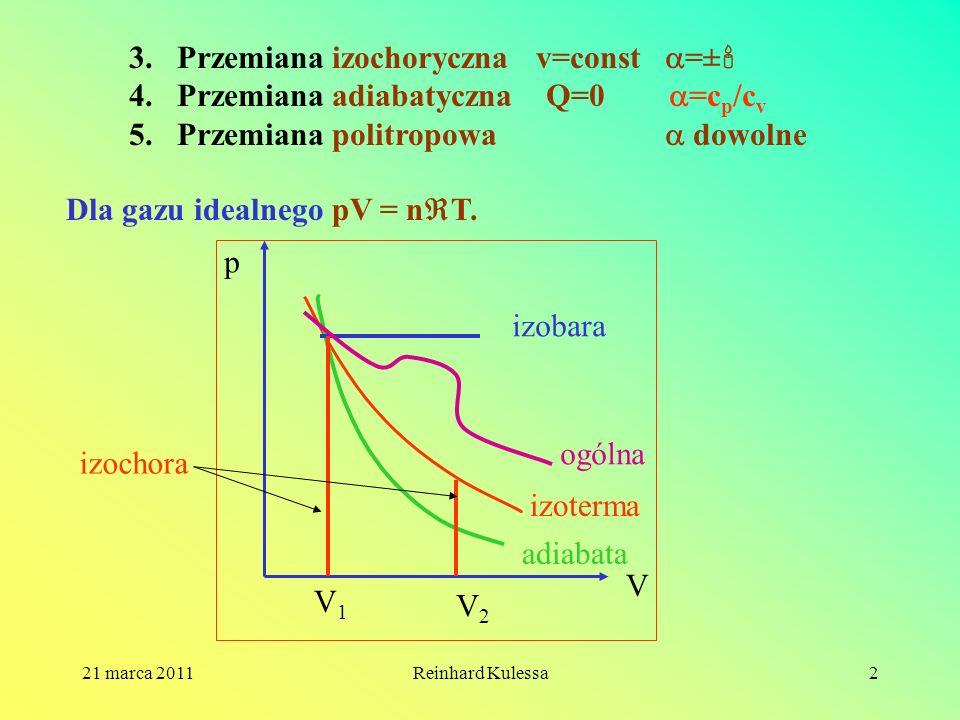 Przemiana izochoryczna v=const =± Przemiana adiabatyczna Q=0 =cp/cv