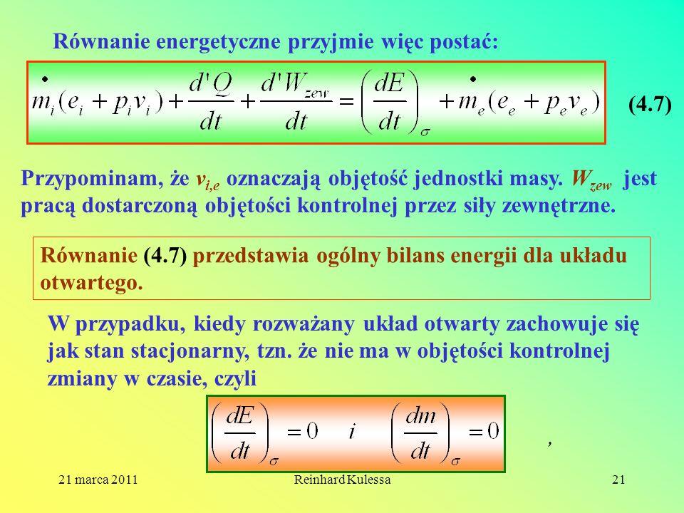 Równanie energetyczne przyjmie więc postać: