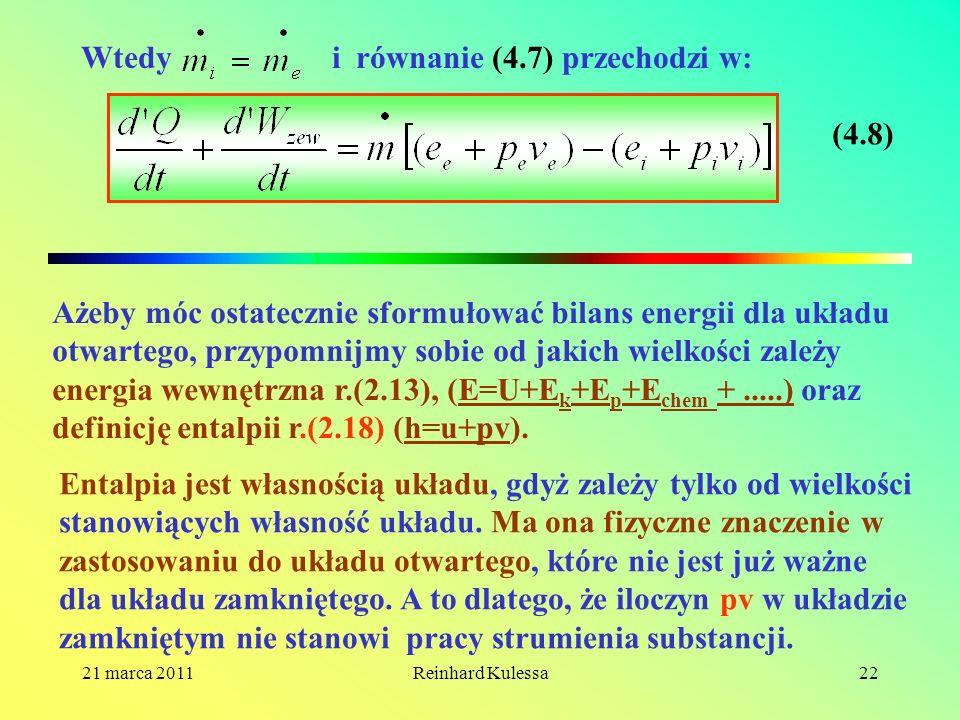 Wtedy i równanie (4.7) przechodzi w: