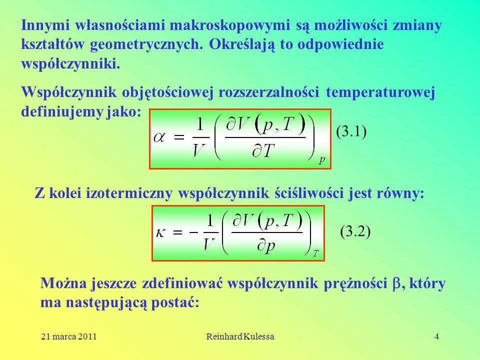 Z kolei izotermiczny współczynnik ściśliwości jest równy: