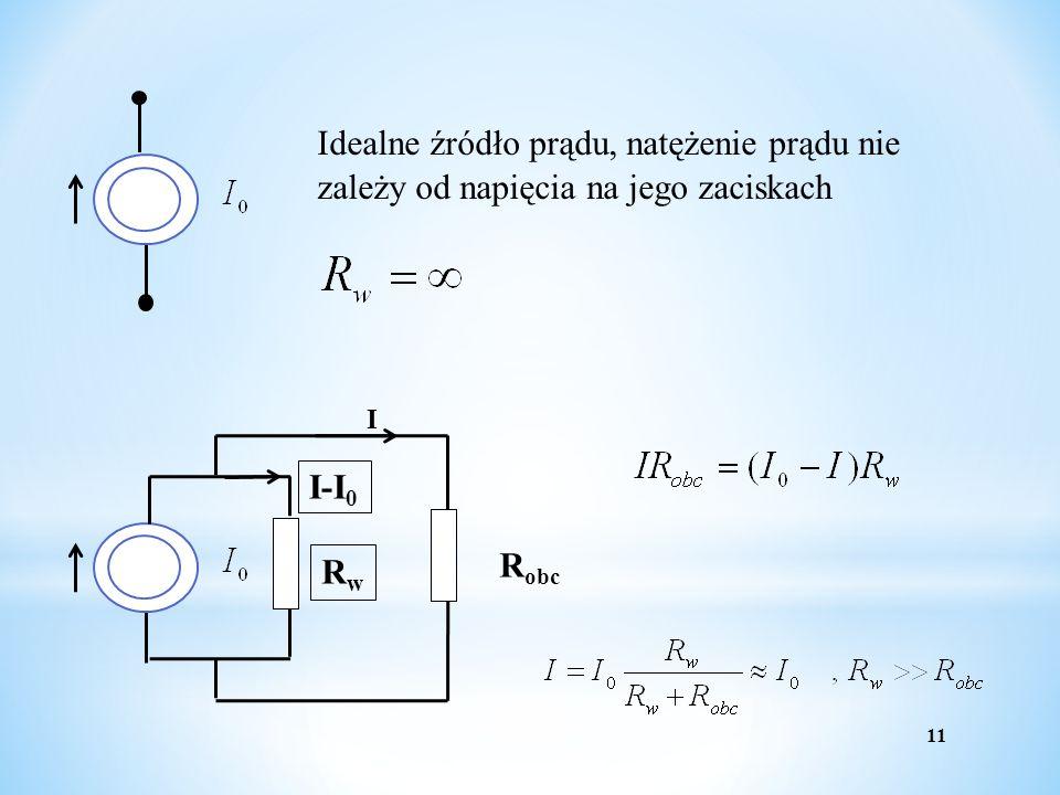 Idealne źródło prądu, natężenie prądu nie zależy od napięcia na jego zaciskach