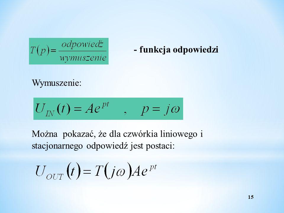 - funkcja odpowiedzi Wymuszenie: Można pokazać, że dla czwórkia liniowego i stacjonarnego odpowiedź jest postaci: