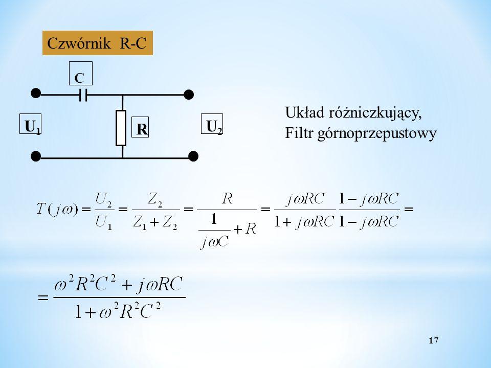 Czwórnik R-C R U1 U2 C Układ różniczkujący, Filtr górnoprzepustowy