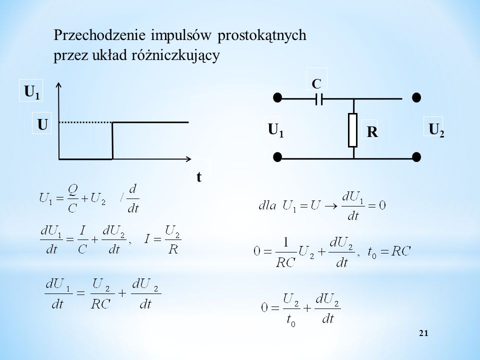 t C Przechodzenie impulsów prostokątnych przez układ różniczkujący R