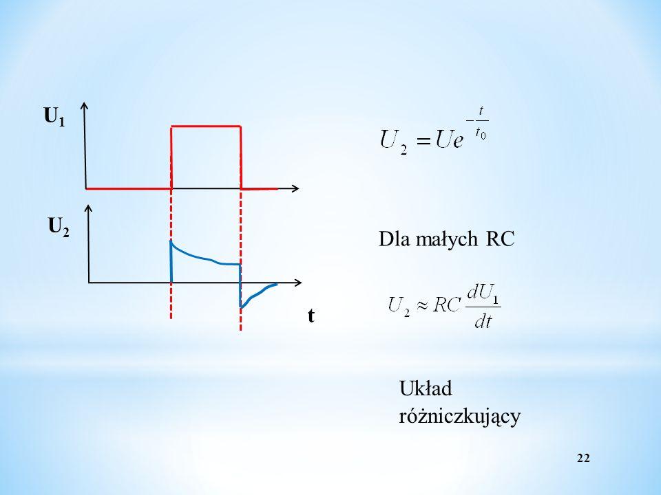U1 t U2 Dla małych RC Układ różniczkujący