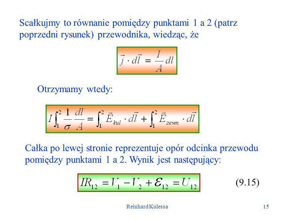 Scałkujmy to równanie pomiędzy punktami 1 a 2 (patrz poprzedni rysunek) przewodnika, wiedząc, że