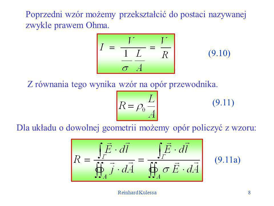Z równania tego wynika wzór na opór przewodnika.
