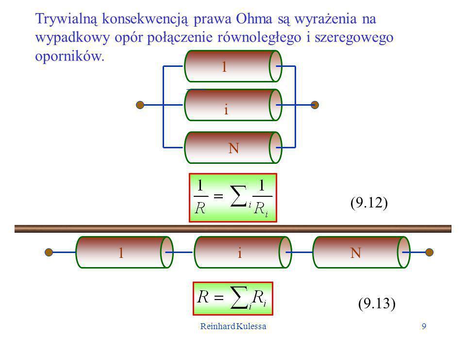 Trywialną konsekwencją prawa Ohma są wyrażenia na wypadkowy opór połączenie równoległego i szeregowego oporników.