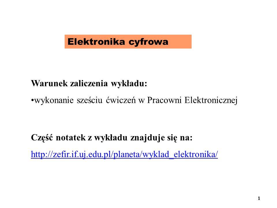 Elektronika cyfrowa Warunek zaliczenia wykładu: wykonanie sześciu ćwiczeń w Pracowni Elektronicznej.