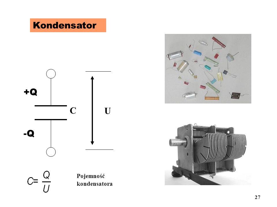 Kondensator +Q -Q U C Pojemność kondensatora