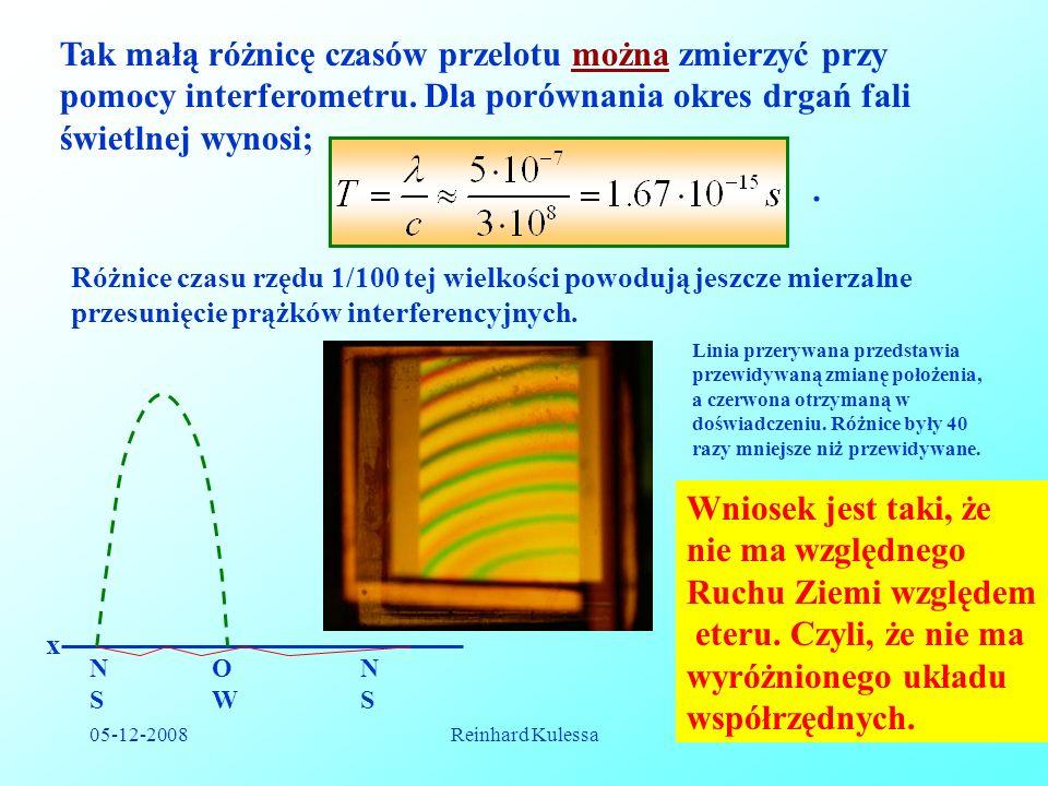 Tak małą różnicę czasów przelotu można zmierzyć przy pomocy interferometru. Dla porównania okres drgań fali świetlnej wynosi;
