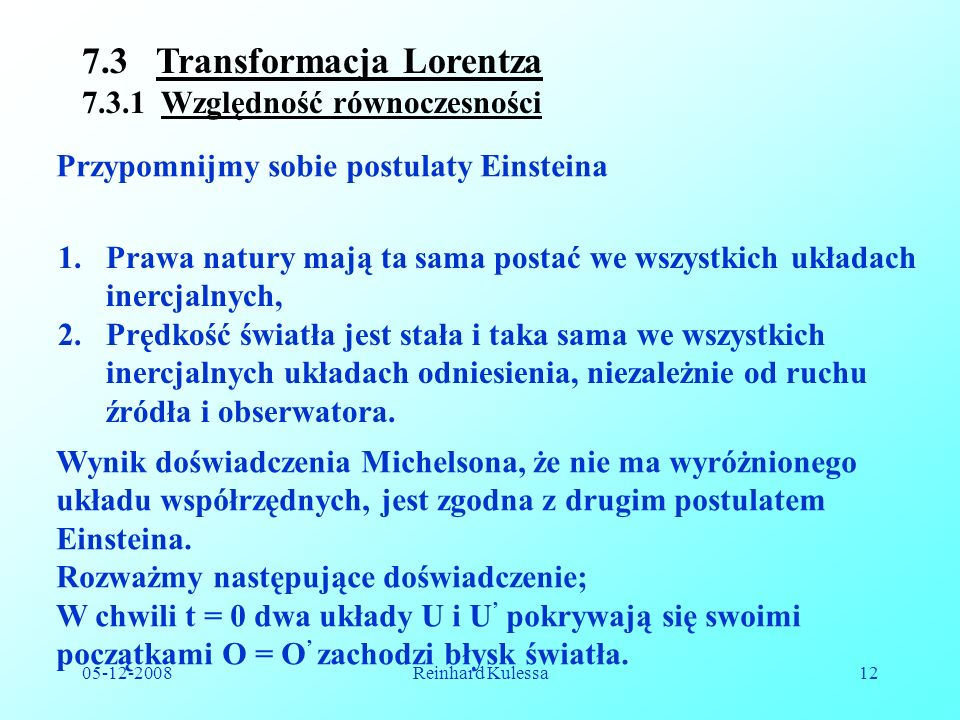 7.3 Transformacja Lorentza