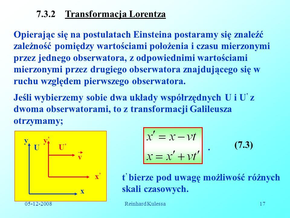 7.3.2 Transformacja Lorentza