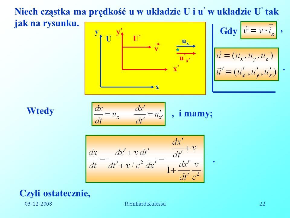 Niech cząstka ma prędkość u w układzie U i u' w układzie U' tak jak na rysunku.