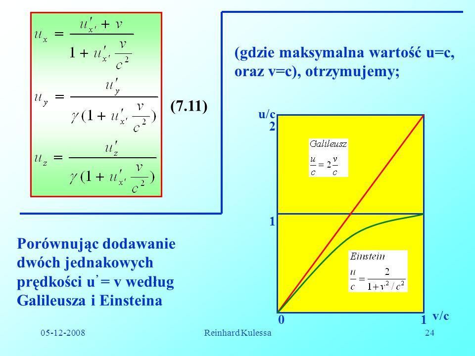 (gdzie maksymalna wartość u=c, oraz v=c), otrzymujemy;