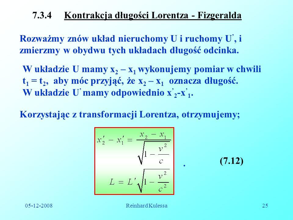 7.3.4 Kontrakcja długości Lorentza - Fizgeralda